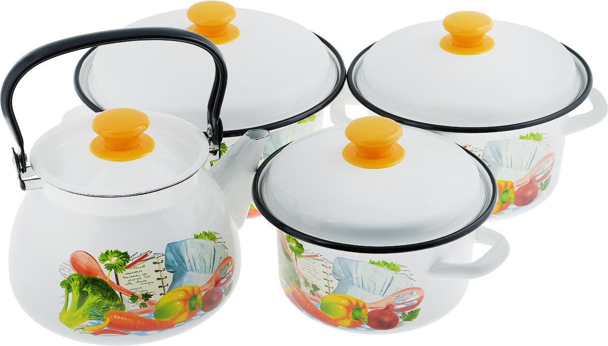 Набор посуды КМК Готовим вместе, 7 предметовГотовим вместеНабор посуды КМК Готовим вместе состоит из 3 кастрюль разного объема, 3 крышек и чайника. Изделия выполнены из качественной эмалированной стали. Эмаль защищает сталь от коррозии, придает посуде гладкую поверхность и надежно защищает от кислот и щелочей. Эмаль устойчива к пищевым кислотам, не вступает во взаимодействие с продуктами и не искажает их вкусовые качества. Прочный стальной корпус обеспечивает эффективную тепловую обработку пищевых продуктов и не деформируется в процессе эксплуатации. Внешняя поверхность изделий оформлена красочным цветочным рисунком. Кастрюли и чайник снабжены стальными крышками с удобными пластиковыми ручками. Чайник имеет прочную подвижную металлическую ручку. Посуда подходит для газовых, электрических, стеклокерамических и индукционных плит. Объем кастрюль: 2 л; 3 л; 4 л. Диаметр кастрюль (по верхнему краю): 20,5 см; 23 см; 26 см. Ширина кастрюль (с учетом ручек): 26,5 см; 29 см; 32 см. ...