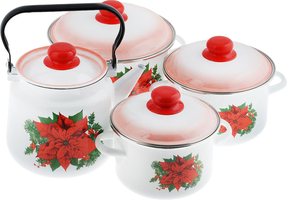"""Набор посуды Стальэмаль """"Красный цветок"""", 8 предметов 7КВ201М"""