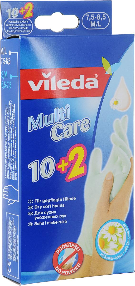 Одноразовые перчатки Vileda, с бальзамом, 12 шт. Размер M/L3693-4Одноразовые перчатки Vileda помогут предотвратить воздействие чистящих средств и воды на ваши руки. Особенности одноразовых перчаток Vileda: - защищают руки от грязи и запахов; - гигиенические (одно применение); - обработаны бальзамом для мягкости; - легко надеваются и снимаются; - универсальное применение для: чистки рыбы, окрашивания волос, полировки обуви, рисования, лакокрасочных работ, легкой уборки.