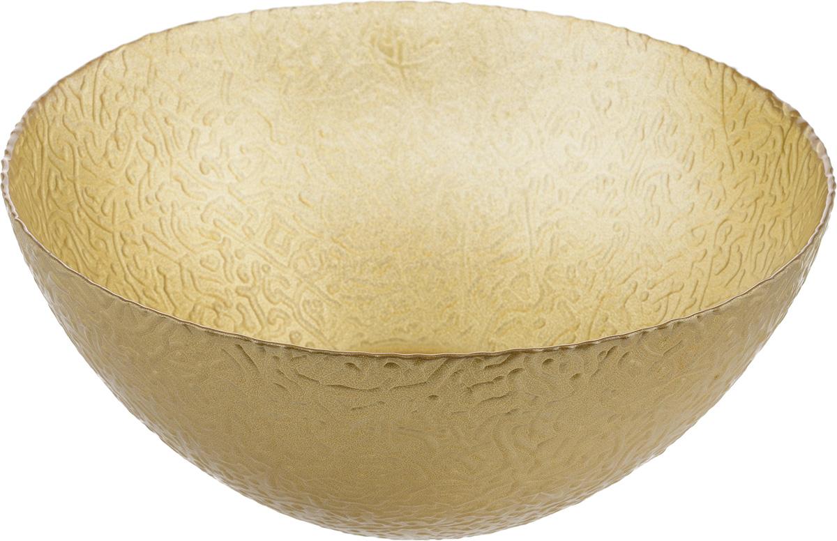 Салатник NiNaGlass Ажур, цвет: золотой, диаметр 25 см83-043-Ф250 ЗОЛМЕТСалатник NiNaGlass Ажур выполнен из высококачественного стекла и декорирован рельефным узором. Он подойдет для сервировки стола как для повседневных, так и для торжественных случаев. Такой салатник прекрасно впишется в интерьер вашей кухни и станет достойным дополнением к кухонному инвентарю. Подчеркнет прекрасный вкус хозяйки и станет отличным подарком. Не рекомендуется использовать в микроволновой печи и мыть в посудомоечной машине. Диаметр салатника (по верхнему краю): 25 см. Высота стенки: 10 см.