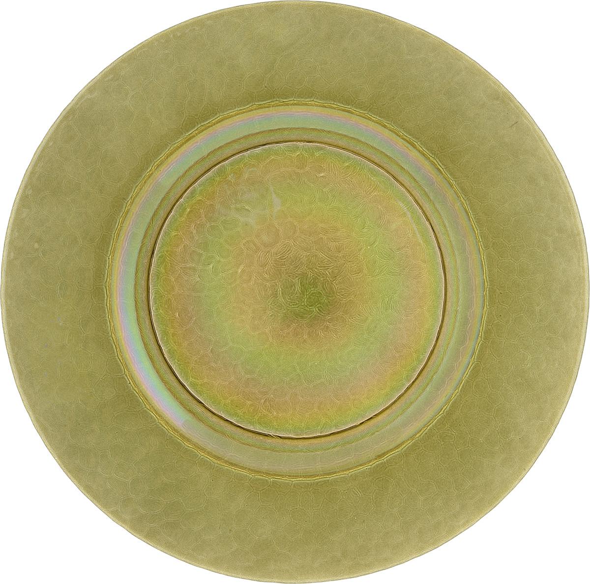 Тарелка NiNaGlass Богемия, цвет: оливковый, диаметр 32,5 см83-056-Ф320 ИТОМТарелка NiNaGlass Богемия выполнена из высококачественного стекла. Она прекрасно впишется в интерьер вашей кухни и станет достойным дополнением к кухонному инвентарю. Не рекомендуется использовать в микроволновой печи и мыть в посудомоечной машине.