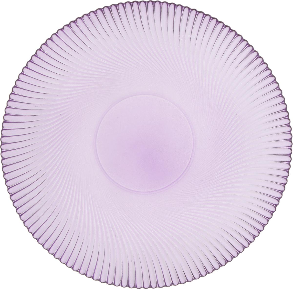 Тарелка NiNaGlass Альтера, цвет: сиреневый, диаметр 26 см83-067-Ф260 СИРТарелка NiNaGlass Альтера выполнена из высококачественного стекла и имеет рельефную поверхность. Она прекрасно впишется в интерьер вашей кухни и станет достойным дополнением к кухонному инвентарю. Не рекомендуется использовать в микроволновой печи и мыть в посудомоечной машине.