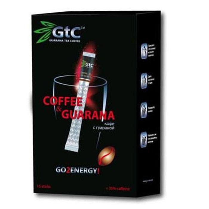 GTC кофе растворимый с гуараной в пакетиках, 15 шт00-00000407Кофе с гуараной GTC – это уникальная композиция, состоящая из молотого и сублимированного кофе с добавлением натурального экстракта гуараны. Изготовление кофе с гуараной осуществляется по бразильскому рецепту, благодаря чему готовый продукт объединяет в себе все самое лучшее. Кофе с гуараной, содержит в себе целый перечень питательных веществ. Кофеин, органические кислоты и минеральные вещества оказывают тонизирующее действие на нервную систему, улучшают работу сердца и пищеварительной системы. Полифенолы, тригонелин и витамины С, Р, В1, В2, В6, В12 замедляют старение, активизируют обменные процессы, поддерживают тонус сосудов и иммунитет.