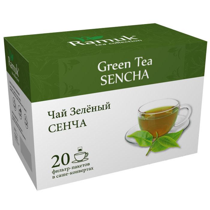 Ramuk чай зеленый в пакетиках, 20 шт00-00000389Чай зеленый китайский СЕНЧА. Китайский традиционный зеленый чай Сенча - очень качественный сорт зеленого чая. Его собирают вручную в середине весны. Листья Сенча темно-зеленого цвета и имеют интересный игольчатый вид. Уникальная техника приготовления чая позволяет сохранить максимум витаминов и микроэлементов. Настой имеет глубокий, изумрудный цвет, обладает тонким ароматом и нежным вкусом.