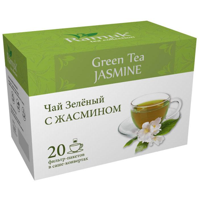 Ramuk чай зеленый с жасмином в пакетиках, 20 шт00-00000390Чай зеленый китайский с жасмином. Чай зеленый с цветками жасмина имеет утонченный сладкий аромат, это самый популярный душистый чай в Китае. Считается, что жасмин принесен в Китай из Персии в глубокой древности - во II—V веках. Он выращивается на большой высоте на горных плантациях. В качестве производителей жасминового чая, наиболее известны китайские провинции Хунань, Цзянсу, Гуандун, Гуанси, и Чжэцзян. Наилучшей репутацией пользуется чай из провинции Фуцзянь.