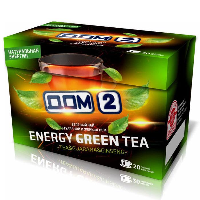 Дом-2 Энерджи чай зеленый с женьшенем и гуараной в пакетиках, 20 шт 00-00000419