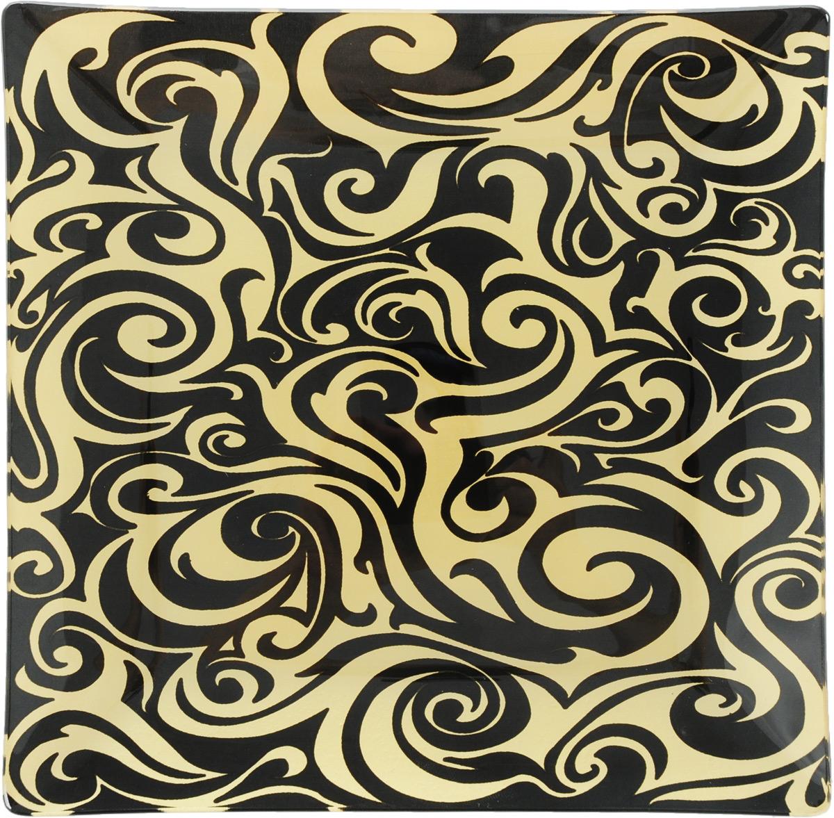 Тарелка Zibo Shelley Золотой орнамент, цвет: черный, диаметр 20 смZSS3108-4Квадратная тарелка Zibo Shelley Золотой орнамент, изготовленная из высококачественного стекла, декорирована ярким узором. Она не только украсит сервировку вашего стола и подчеркнет прекрасный вкус хозяйки, но и станет отличным подарком. Можно использовать в посудомоечной машине. Размер тарелки (по верхнему краю): 20 х 20 см. Высота: 2 см.