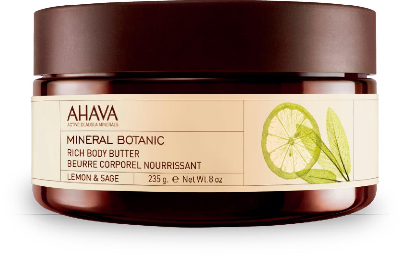 Ahava Mineral Botanic Насыщенное масло для тела лимон и шалфей 235 гр81323065Насыщенное масло для тела на базе масел дерева ши, персика и разнообразных трав, а также комплекса Osmoter™ и лимона и шалфея для интенсивного увлажнения, немедленного разглаживания и размягчения кожи. Лимон и шалфей: Цедра лимона делает кожу более чистой.