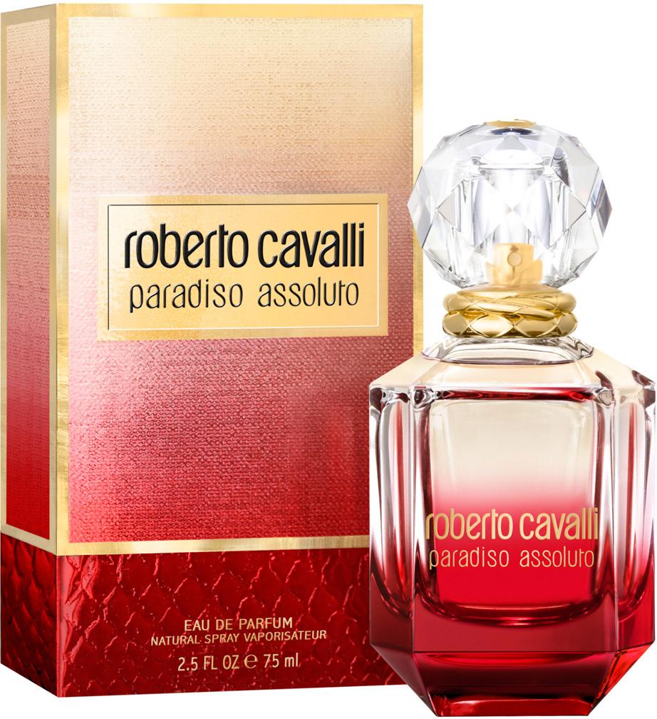 Roberto Cavalli Paradiso Assoluto женская Парфюмерная вода 75 мл75997042000Флакон аромата Paradiso Assoluto в форме красного бриллианта выполнен из стекла и увенчан крышкой в виде кристалла. Металлические кольца на горлышке флакона напоминают о любимых брендом анималистичных принтах.