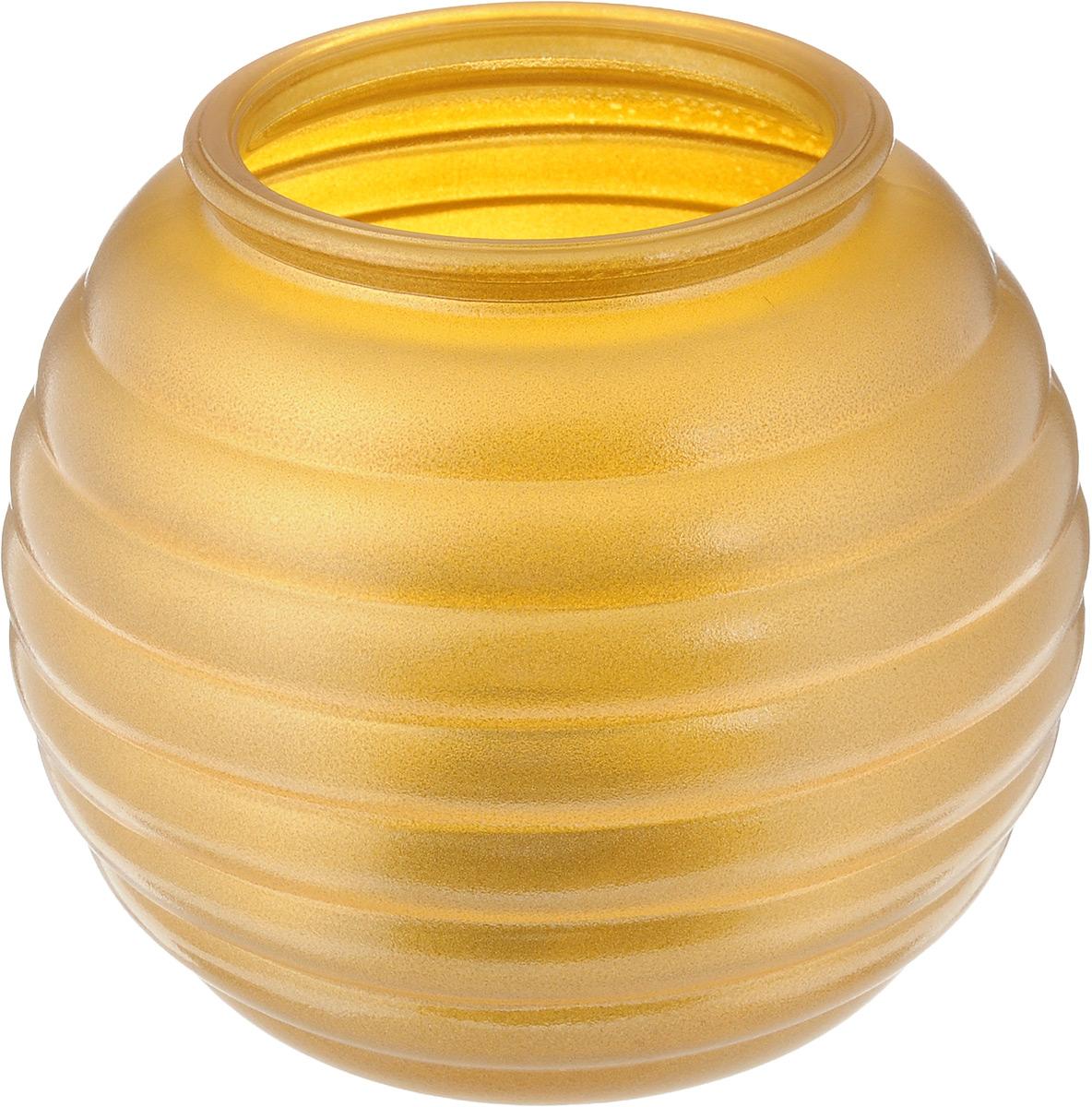 Ваза NiNaGlass Зара, цвет: золотистый, высота 13,3 см92-006 ЗОЛВаза NiNaGlass Зара выполнена из высококачественного стекла и оформлена изящным рельефом. Такая ваза станет ярким украшением интерьера и прекрасным подарком к любому случаю. Высота вазы: 13,3 см. Диаметр вазы (по верхнему краю): 8 см.