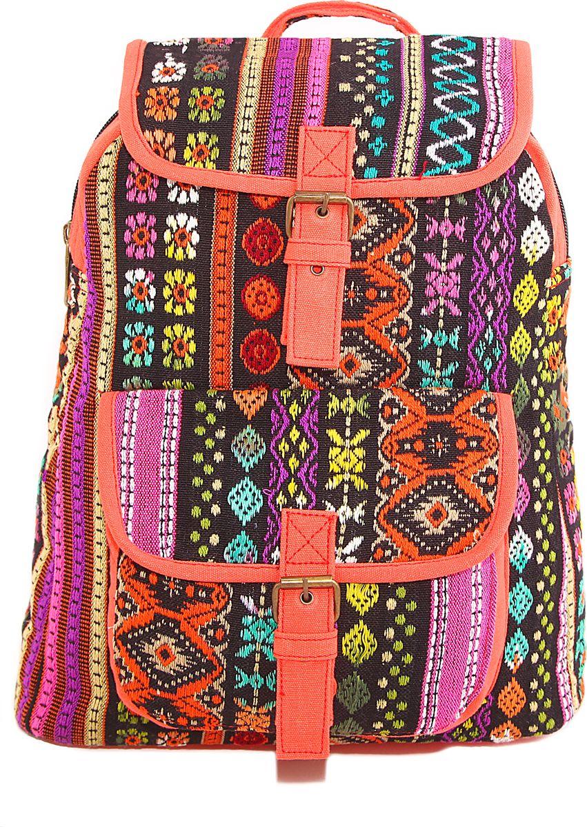 Рюкзак женский ГАНГ, цвет: розовый. 440/3440/3Состав: Хлопок; Размер: 30х13х36 см; Цвет: Мультиколор; Вес: 0.44кг; на подкладе, с внутренним карманом, застежка молния;