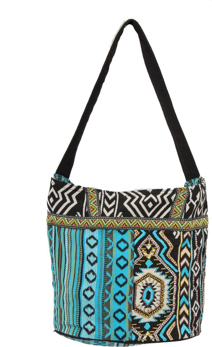 Пляжная сумка женская ГАНГ, цвет: синий. АА8222АА8222декоративная отделка ручной работы(вышивка), одно отделение на молнии, внутренний карман на молнии, карман для моб.телефона, 32*25*17 см, высота ручки 30 см;