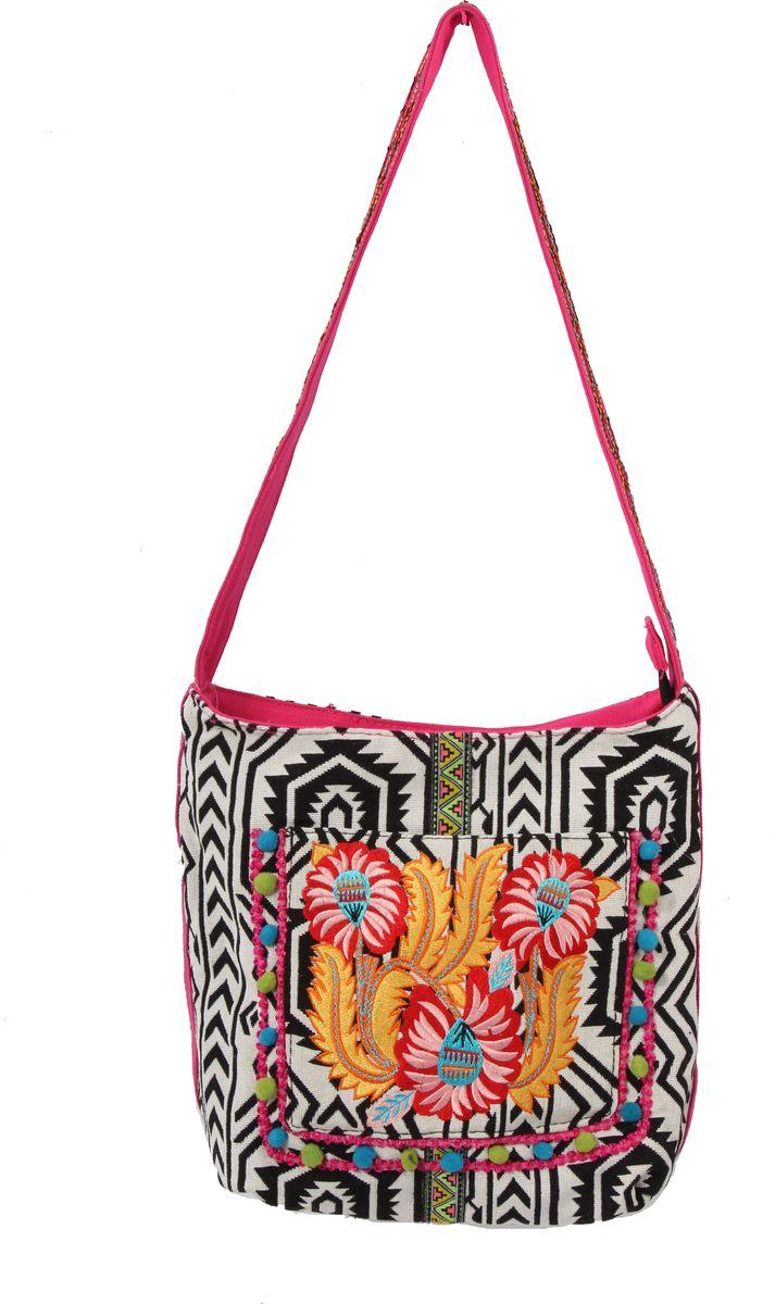 Пляжная сумка женская ГАНГ, цвет: черный. АА8247АА8247декоративная отделка ручной работы(вышивка) одно отделение на молнии, внутренний карман на молнии, карман для моб.телефона, спереди карман на кнопке 25*25*13 см, высота ручки 35 см;