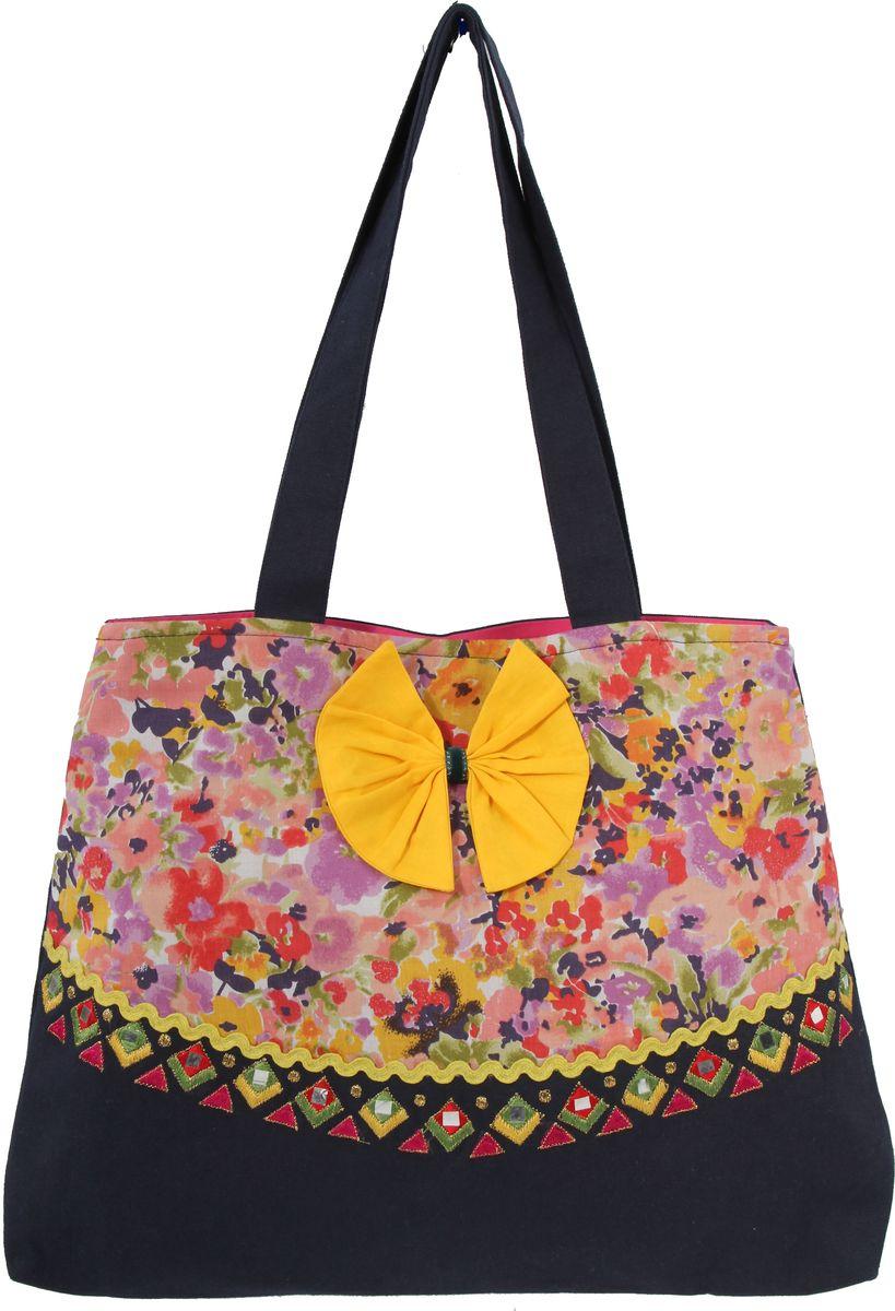 Пляжная сумка женская ГАНГ, цвет: черный. ЕХ512ЕХ512декоративная отделка ручной работы(вышивка, апликации), одно отделение на кнопке, два внутренних кармана, 42*36*8 см, высота ручки 27 см;