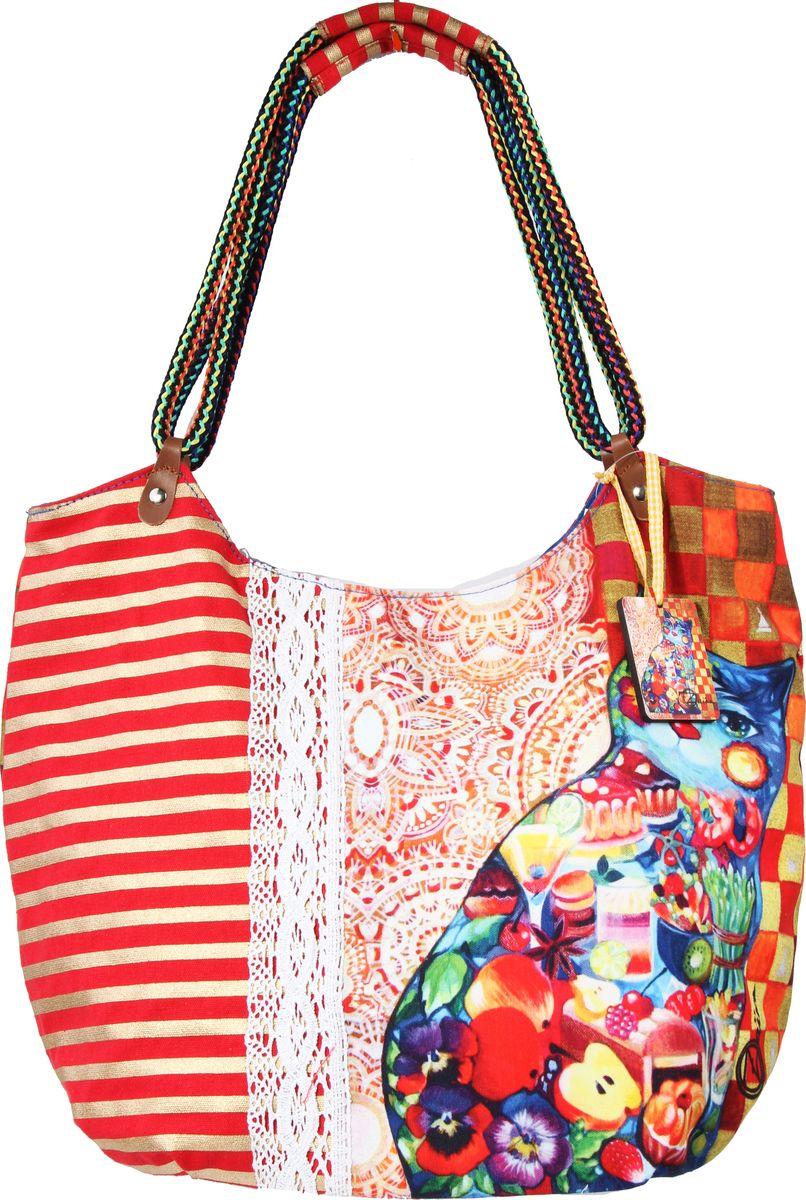Пляжная сумка женская ГАНГ, цвет: красный. АВ1106АВ1106декоративная отделка, цифровая печать, одно отделение на молнии, внутренний карман на молнии, карман для моб. телефона, 36*24*40 см, высота ручек 30 см;