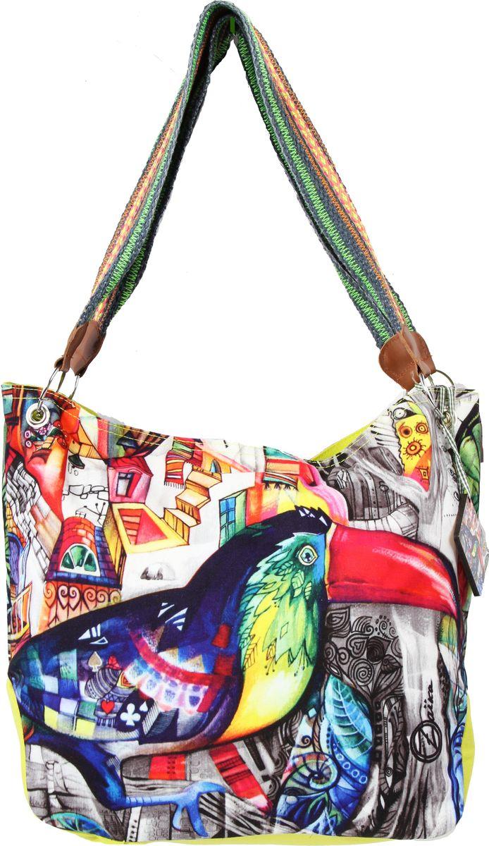 Пляжная сумка женская ГАНГ, цвет: зеленый. АВ108АВ108декоративная отделка, цифровая печать, одно отделение на молнии, внутренний карман на молнии, карман для моб. телефона, 45*17*34 см, высота ручек 30 см;