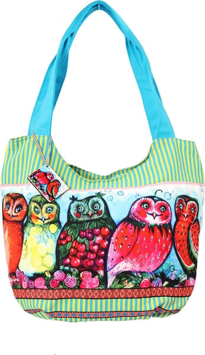 Пляжная сумка женская ГАНГ, цвет: зеленый. АВ113тАВ113тдекоративная отделка, цифровая печать, одно отделение на молнии, внутренний карман на молнии, карман для моб. телефона, 45*22*34 см, высота ручек 31 см;