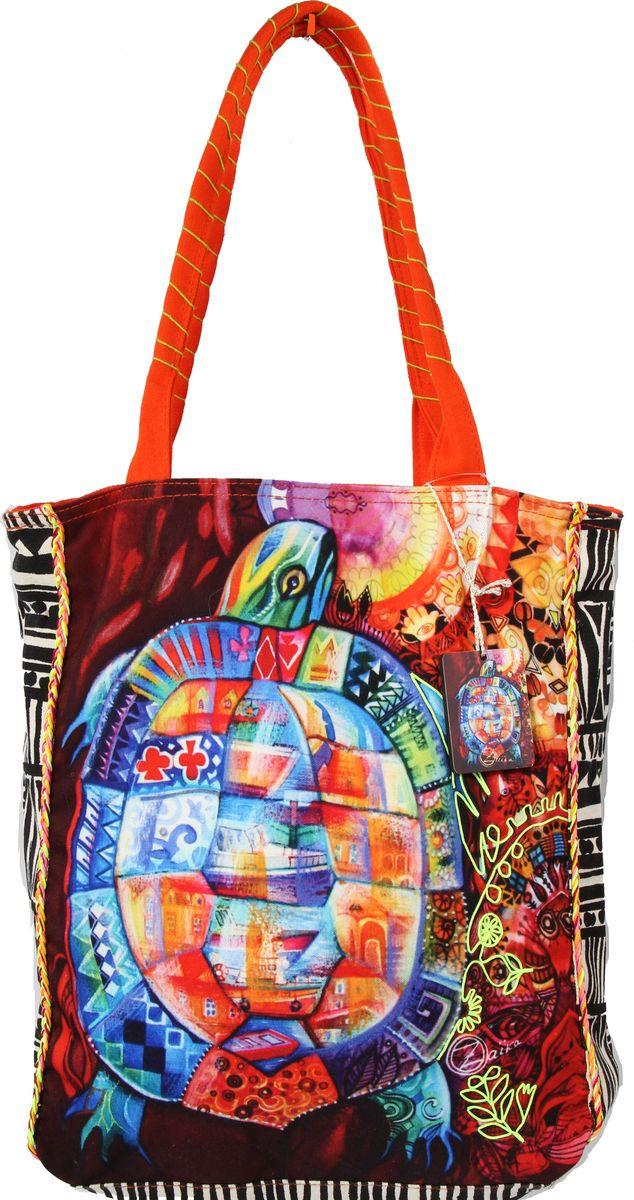 Сумка пляжная женская Ганг, цвет: оранжевый, мультиколор. АВ119АВ119Пляжная женская сумка Ганг выполнена из хлопковой ткани. Модель с одним отделением, застегивается на молнию, внутри имеется карман на молнии.