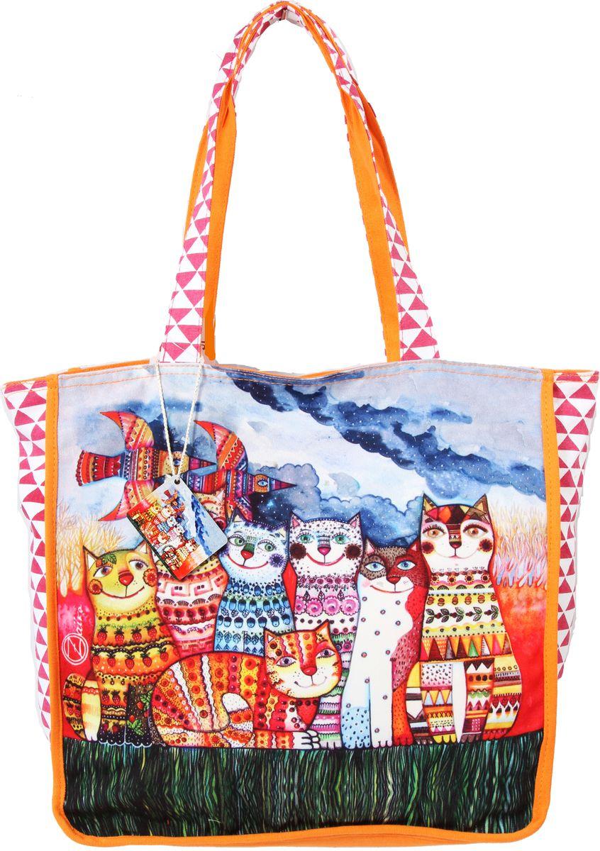 Пляжная сумка женская ГАНГ, цвет: оранжевый. АВ125тАВ125тдекоративная отделка, цифровая печать, одно отделение на молнии, внутренний карман на молнии, карман для моб. телефона, 50*17*39 см, высота ручек 28 см;