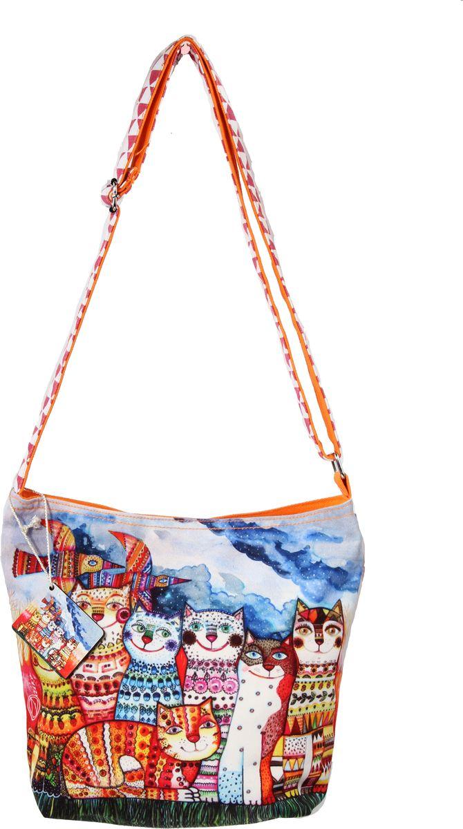 Пляжная сумка женская ГАНГ, цвет: оранжевый. АВ127АВ127Состав: Хлопок; Размер: 32*12*28 см, длина ручки регулируется; Цвет: Мультиколор; декоративная отделка, цифровая печать, подклад хлопок, одно отделение на молнии, внутренний карман на молнии