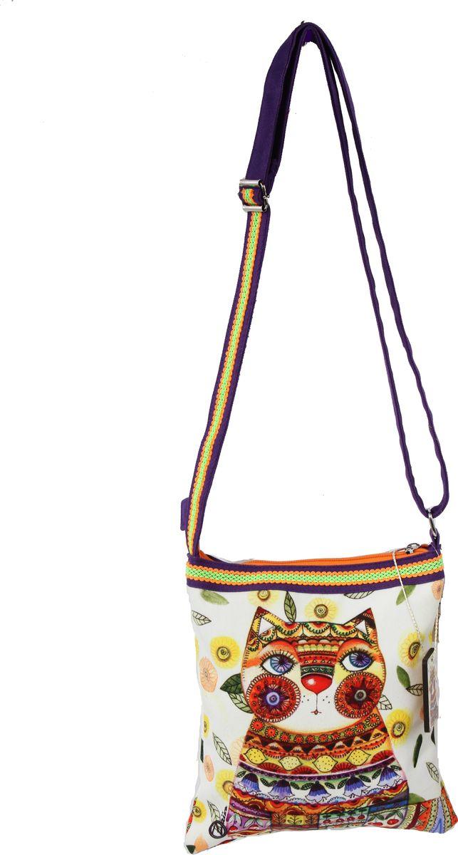 Пляжная сумка женская ГАНГ, цвет: белый. АВ130АВ130Состав: Хлопок; Размер: 25*5*26 см, длина ручки регулируется; Цвет: Мультиколор; Вес: 0.21кг; декоративная отделка, цифровая печать, подклад хлопок, одно отделение на молнии, внутренний карман на молнии, ;