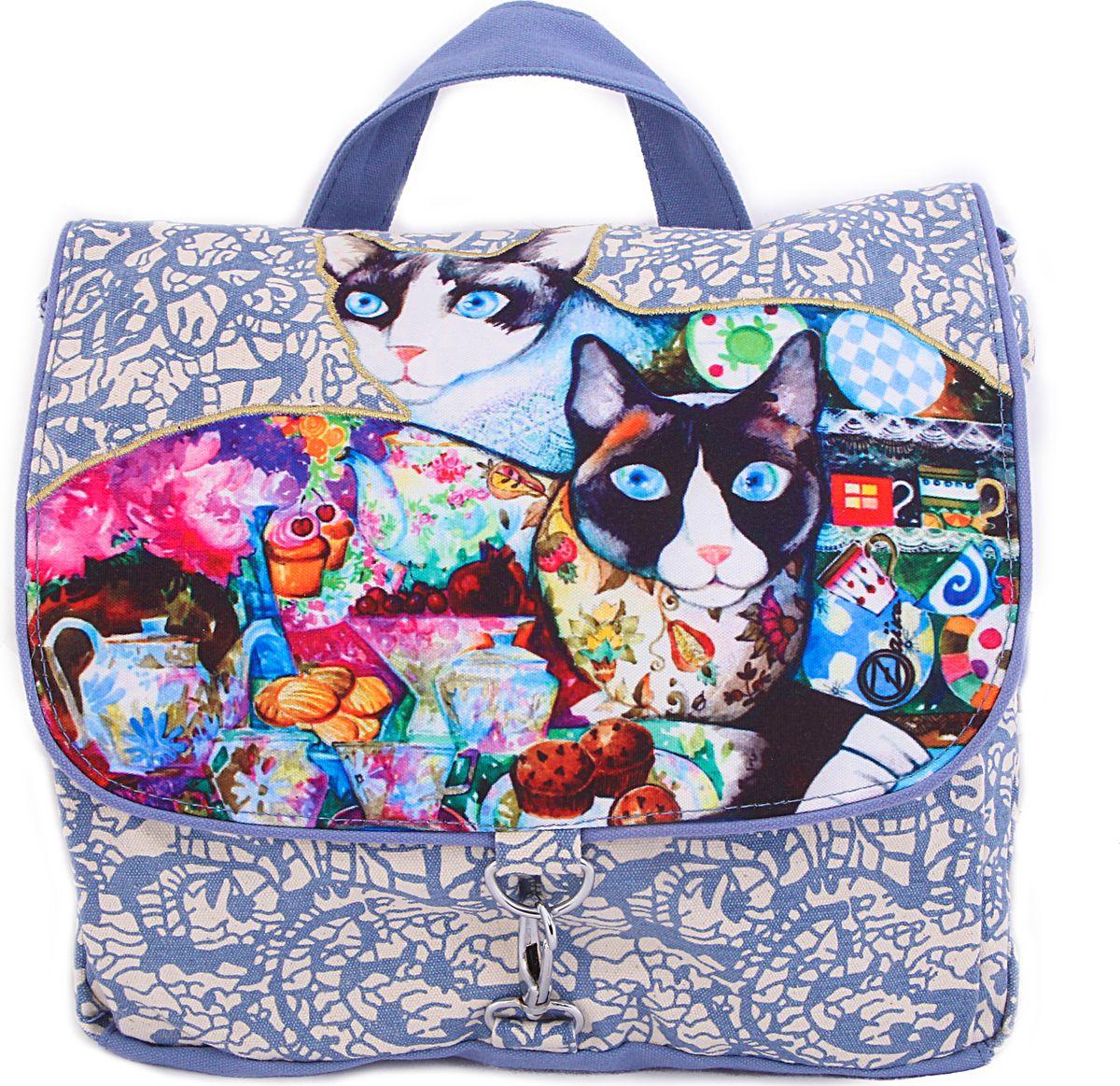 Пляжная сумка женская ГАНГ, цвет: голубой. АВ913ДАВ913Ддекоративная отделка, цифровая печать, одно отделение на молнии, внутренний карман на молнии, карман для моб. телефона, 2 внешних карамна 32*13*33 см;