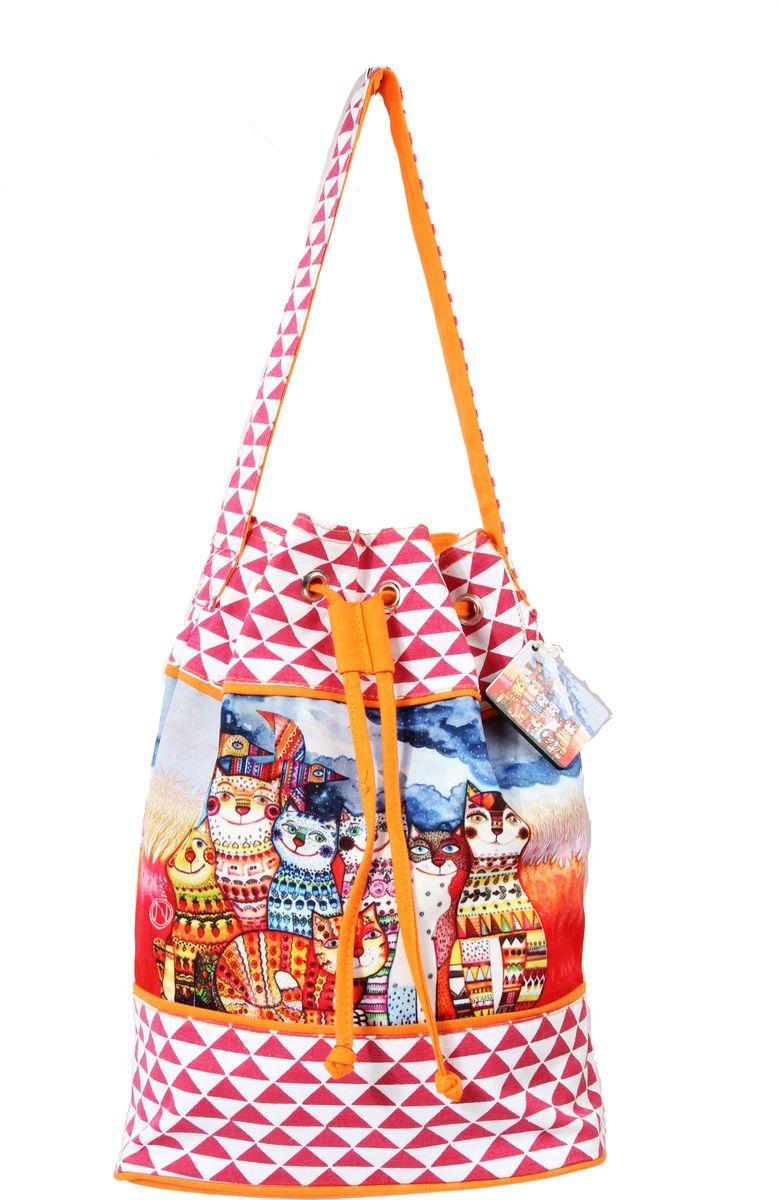 Пляжная сумка женская ГАНГ, цвет: красный. АВ914ААВ914Адекоративная отделка, цифровая печать, одно отделение на шнурке, внутренний карман на молнии, карман для моб. телефона , 36*17*39 см, высота ручки 25 см;