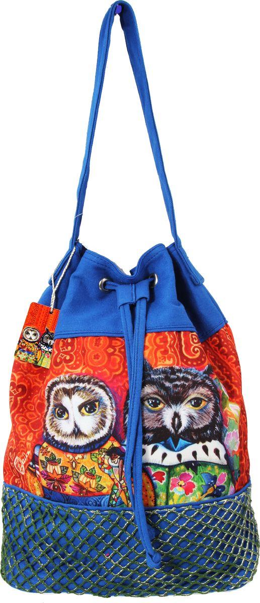 Пляжная сумка женская ГАНГ, цвет: синий. АВ914ВАВ914Вдекоративная отделка, цифровая печать, сумка на подкладе, одно отделение на шнурке, внутренний карман на молнии, карман для моб. телефона , 36*17*39 см, высота ручки 25 см;