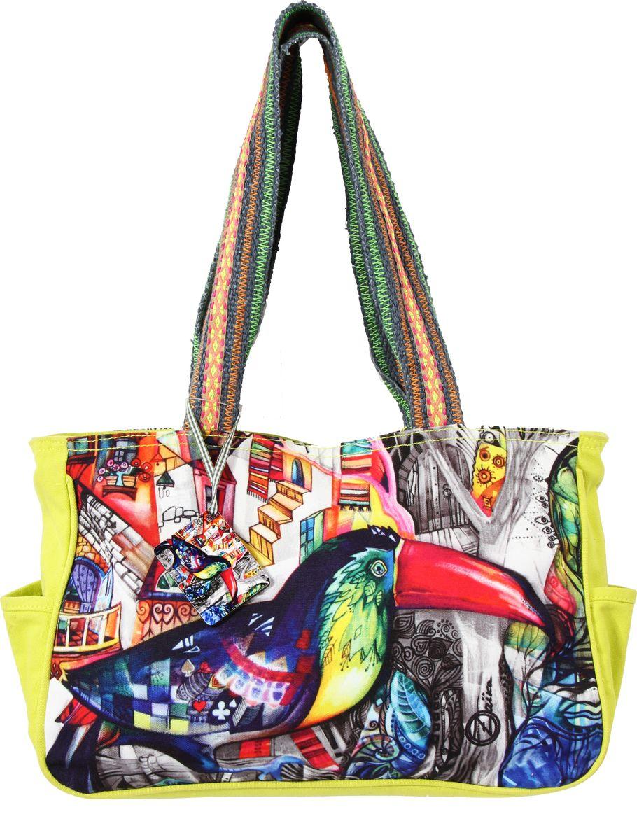 Пляжная сумка женская ГАНГ, цвет: желтый. АВ1105АВ1105декоративная отделка, цифровая печать, одно отделение на молнии, 35*10*26 см, высота ручек 29 см;
