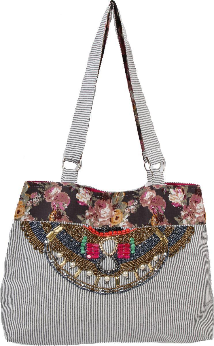 Пляжная сумка женская ГАНГ, цвет: серый. ЕХ519ЕХ519декоративная отделка ручной работы(вышивка), одно отделение на кнопке, два внутренних кармана, 45*32*8 см, высота ручки 33 см;