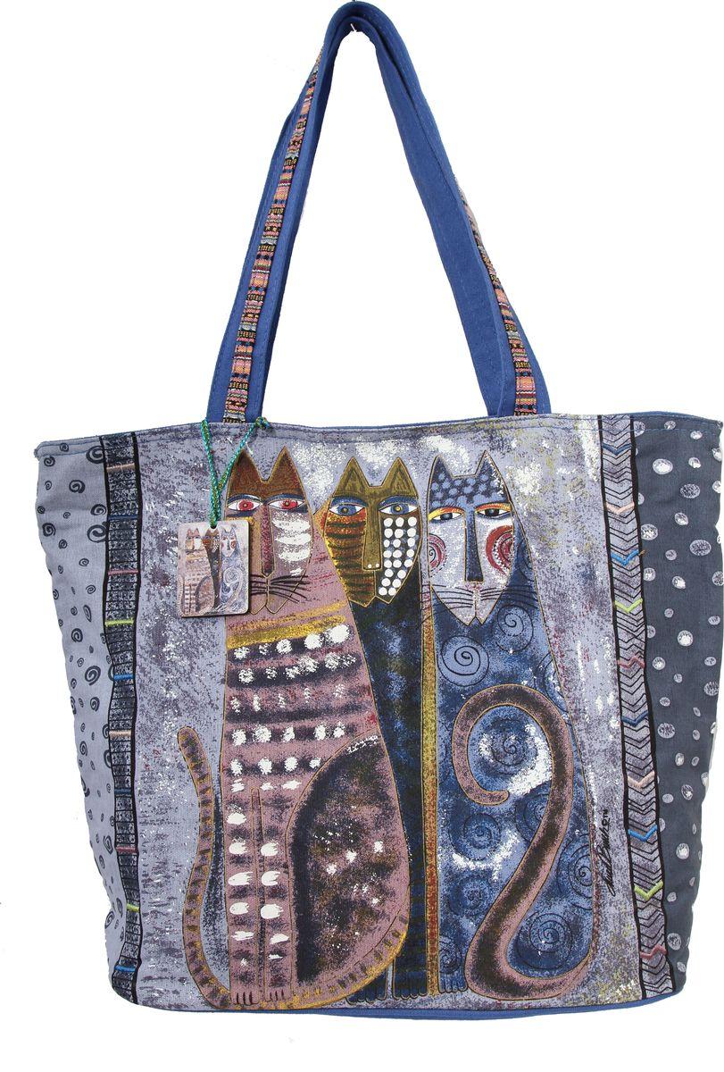 Пляжная сумка женская ГАНГ, цвет: синий. ЛБ4901ЛБ4901ОЖИДАЕМЫЕ Высота 38 см, ширина 50 см, ширина дна 10 см, высота ручек 28 см, тип застежки молния, имеется внутренний карман на молнии и карман для мобильного;