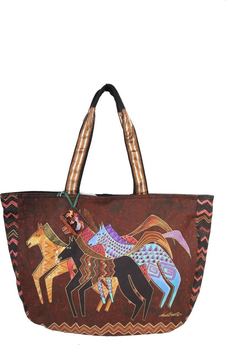 Пляжная сумка женская ГАНГ, цвет: коричневый. ЛБ5270ЛБ5270Высота 36 см, ширина 58 см, ширина дна 10 см, высота ручек 30 см, тип застежки молния, имеется внутренний карман на молнии и карман для мобильного;