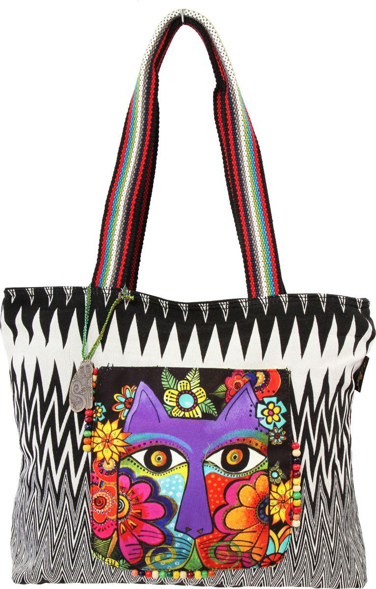 Пляжная сумка женская ГАНГ, цвет: черный. ЛБ5460ЛБ5460Высота 32 см, ширина 38 см, ширина дна 10 см, высота ручек 30 см, тип застежки молния, имеется внутренний карман на молнии и карман для мобильного;
