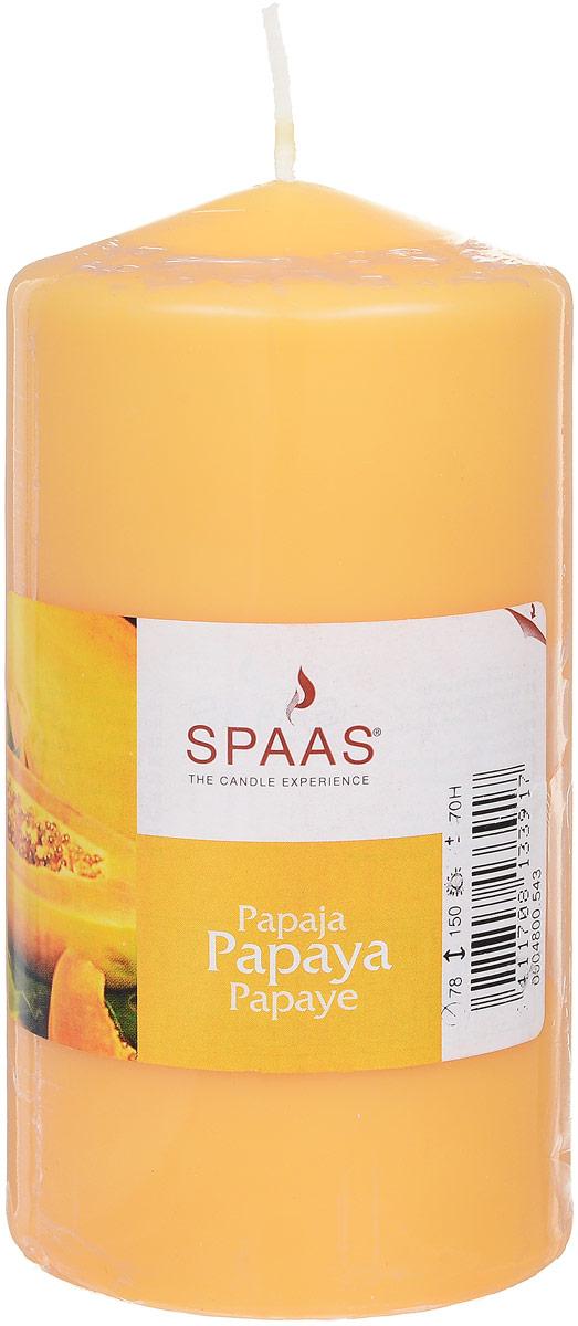 Свеча ароматизированная Spaas Папайя, высота 15 см004800543Ароматизированная свеча Spaas Папайя изготовлена из парафина с добавлением натуральных красок и ароматизаторов, не выделяющих вредные вещества при горении. Фитиль выполнен из натурального хлопка. Оригинальная свеча с тонким, нежным ароматом добавит романтики в ваш дом и создаст неповторимую атмосферу уюта, тепла и нежности. Такая свеча не только поможет дополнить интерьер вашей комнаты, но и станет отличным подарком. Время горения: 70 ч.