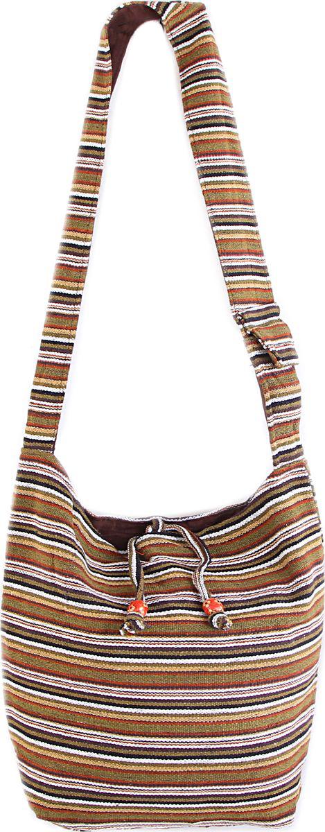 Пляжная сумка женская ГАНГ, цвет: коричневый. С3/2С3/2Состав: хлопок; Размер: 33*37*12 см; Цвет: мультиколор; Вес: 0.244кг; длинна лямки 50 см, подклад хлопок, внутри карман, карман на молнии снаружи, застежка молния.;