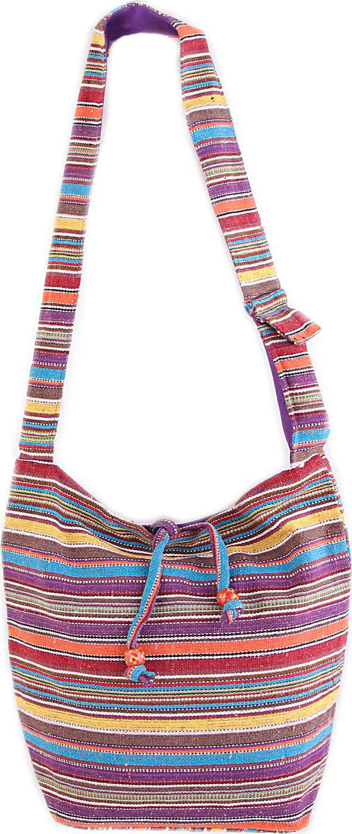 Пляжная сумка женская ГАНГ, цвет: фиолетовый. С3/4С3/4Состав: хлопок; Размер: 33*37*12 см; Цвет: мультиколор; Вес: 0.244кг; длинна лямки 50 см, подклад хлопок, внутри карман, карман на молнии снаружи, застежка молния.;