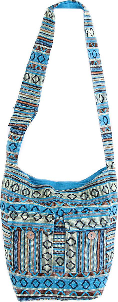 Пляжная сумка женская ГАНГ, цвет: голубой. С7/15С7/15Состав: хлопок 100%; Размер: 35*30*10 см; Цвет: голубой; Вес: 0.23кг; длинна лямки 50 см, подклад хлопок, внутри карман, застежка молния.;