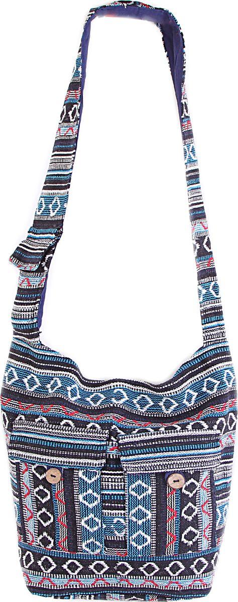 Пляжная сумка женская ГАНГ, цвет: синий. С7/16С7/16Состав: хлопок 100%; Размер: 35*30*10 см; Цвет: синий; Вес: 0.23кг; длинна лямки 50 см, подклад хлопок, внутри карман, застежка молния.;