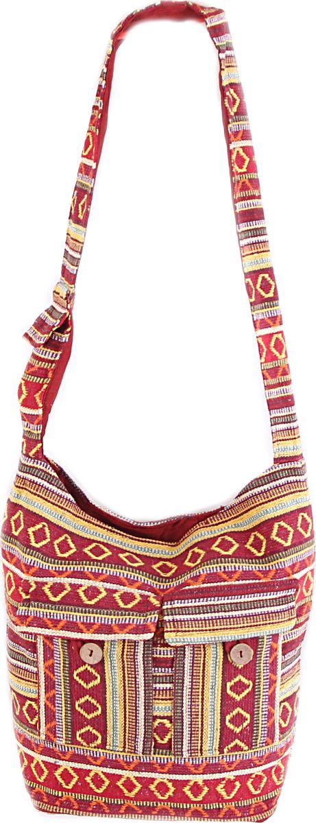 Пляжная сумка женская ГАНГ, цвет: красный. С7/20С7/20Состав: хлопок 100%; Размер: 35*30*10 см; Цвет: мультиколор; Вес: 0.23кг; длинна лямки 50 см, подклад хлопок, внутри карман, застежка молния.;