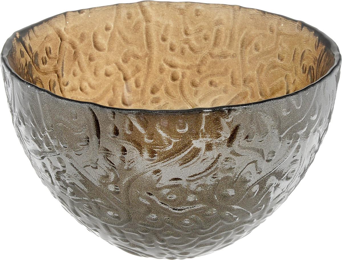Салатник NiNaGlass Ажур, цвет: серо-золотой, диаметр 12 см83-040-ф120_серо-золотойСалатник NiNaGlass Ажур выполнен из высококачественного стекла и имеет рельефную поверхность. Он прекрасно впишется в интерьер вашей кухни и станет достойным дополнением к кухонному инвентарю. Не рекомендуется использовать в микроволновой печи и мыть в посудомоечной машине.