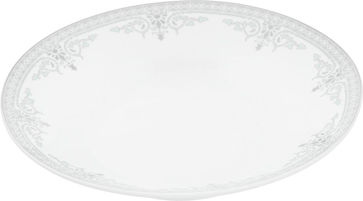 Тарелка суповая Венеция, диаметр 21 см216686Тарелка суповая Венеция изготовлена из высококачественного фарфора. Изделие устойчиво к повреждениям и истиранию, в процессе эксплуатации не впитывает запахи и сохраняет первоначальные краски. Тарелка декорирована красивым орнаментом. Диаметр тарелки (по верхнему краю): 21 см. Высота тарелки: 4 см.