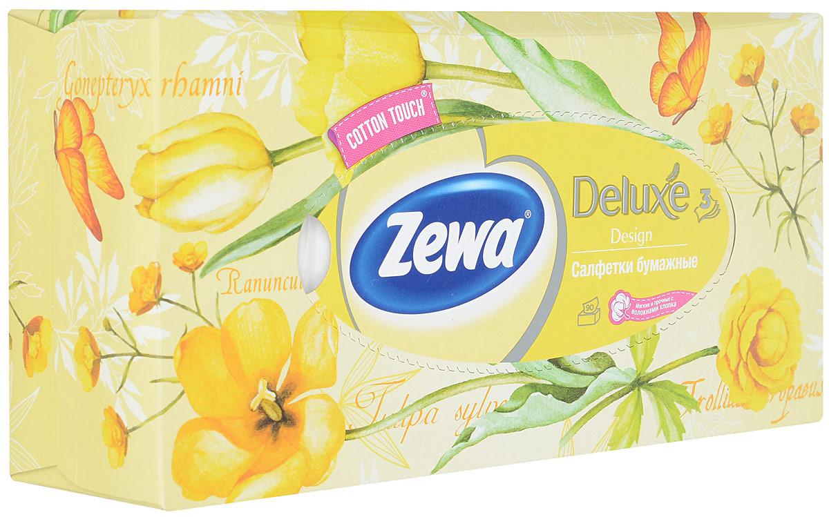 Zewa Платки косметические в коробке Deluxe, 90 шт, цвет: желтый28420_желтый