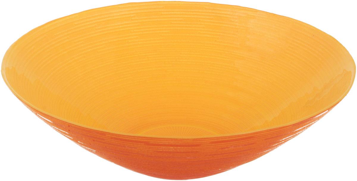 Миска NiNaGlass Риски, цвет: оранжевый, диаметр 25,5 см83-012-Ф25 Р-Ж-ОРЖМиска NiNaGlass Риски выполнена из высококачественного стекла и имеет рельефную поверхность. Она прекрасно впишется в интерьер вашей кухни и станет достойным дополнением к кухонному инвентарю. Не рекомендуется использовать в микроволновой печи и мыть в посудомоечной машине. Диаметр миски: 25,5 см. Высота стенки: 7,5 см.