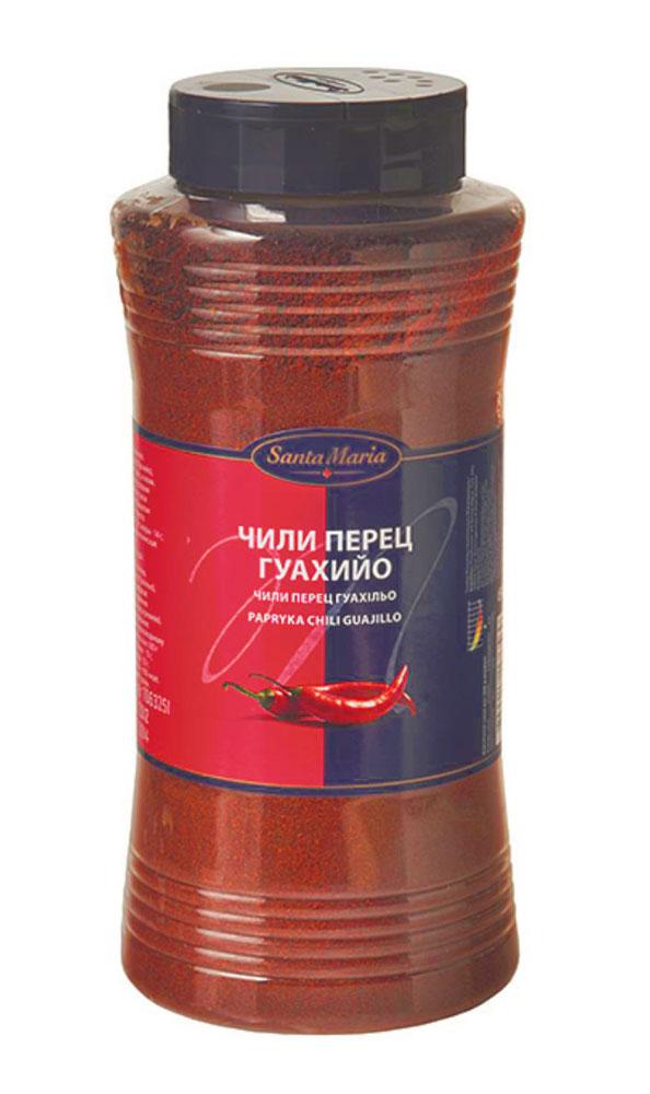 Santa Maria Чили перец Гуахийо, 500 г17656Чили перец Гуахийо Santa Maria для горячих блюд, сальсы, маринадов или супов. Подходит к пасте, пряным бифштексам и рыбе, соусам, овощным блюдам, фруктам и ягодам, для жареного мяса и гриля, для блюд из фарша и дичи. Молотый чили придает блюду красивый красноватый цвет благодаря высокой концентрации перца, с оттенком вишни и легкой остроты чили. Уровень жгучести: 4 (по шкале от 1 до 10).