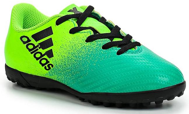 Бутсы для мальчика Adidas X 16.4 TF J, цвет: зеленый, светло-зеленый, черный. Размер 5,5 (37,5)BB5908Бутсы для мальчика Adidas X 16.4 TF J созданы для игры на искусственных поверхностях. Верх выполнен из текстиля с полимерным покрытием. Классическая шнуровка гарантирует удобство и надежно фиксирует модель на стопе. Стелька, выполненная из мягкого текстиля, обеспечивает комфорт и отличную амортизацию. Подошва с шипами гарантирует отличное сцепление с любым покрытием. В таких бутсах ваш мальчик станет победителем!