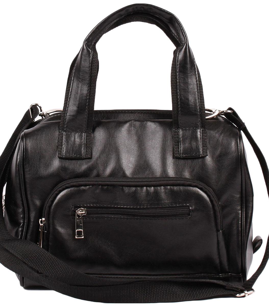 Сумка спортивная женская Медведково, цвет: черный. 16с3455-к1416с3455-к14Спортивная сумка от Медведково выполнена из искусственной кожи, модель с одним отделением, закрывается на молнию. Имеет накладной карман на передней стенке и карман на задней, закрывающиеся на молнию. Внутри сумки карман для сотового и карман на молнии.