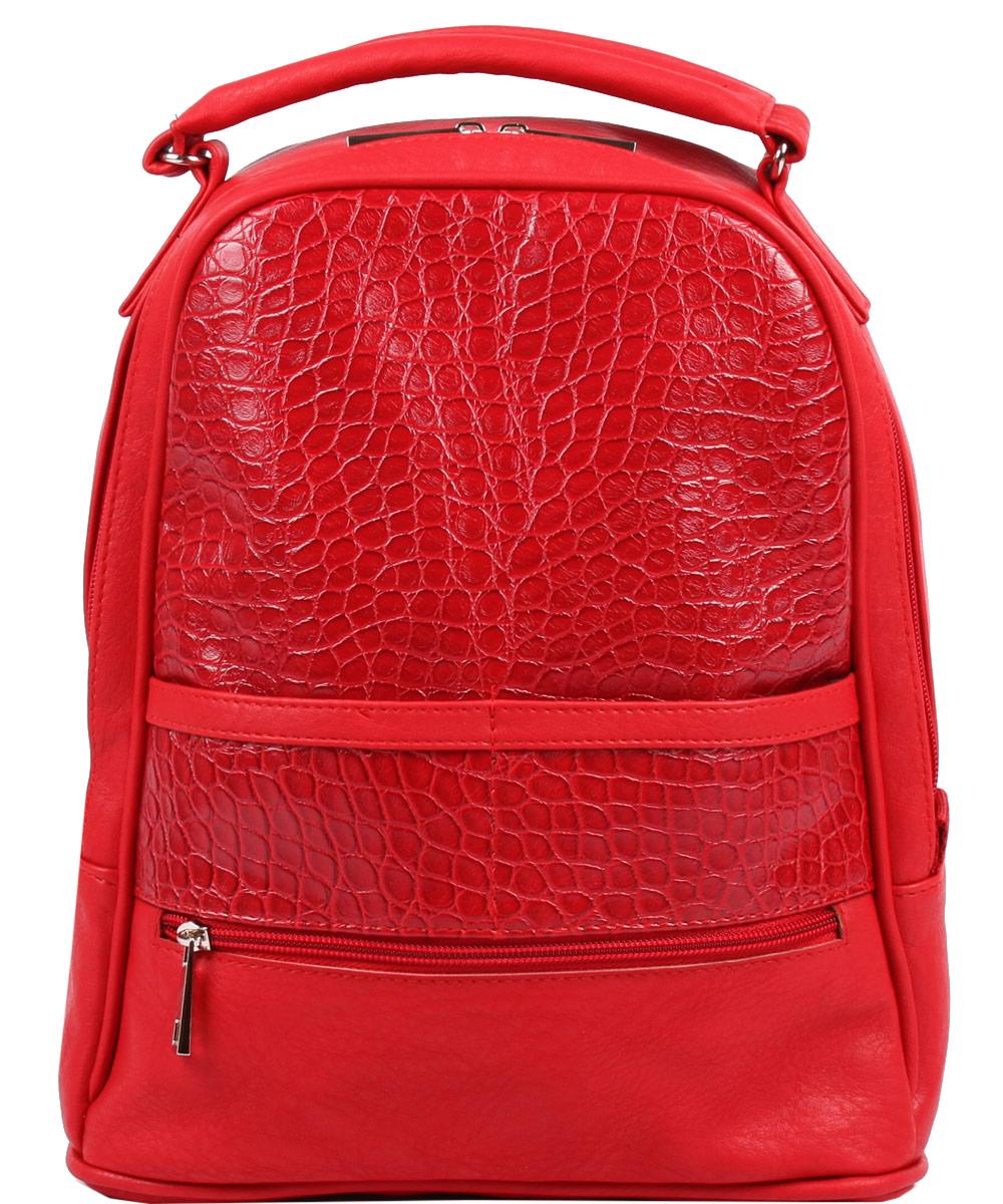 Рюкзак женский Медведково, цвет: красный. 16с4226-к1416с4226-к14Сумка с одним отделением, закрывается на молнию. Есть карманы на молнии: два на передней стенке, один на задней. Внутри карман для сотового телефона и карман на молнии.