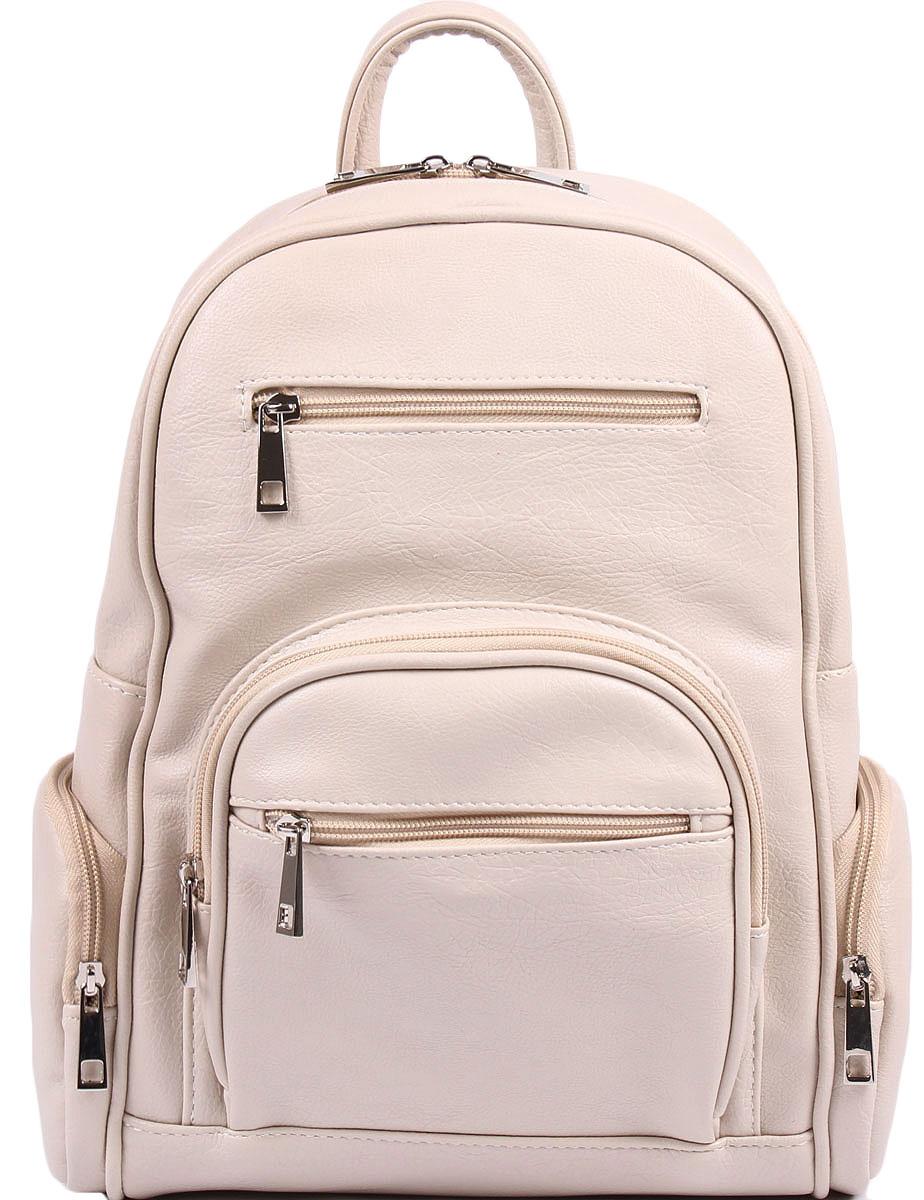 Рюкзак женский Медведково, цвет: бежевый. 16с3747-к1416с3747-к14Женский рюкзак от Медведково выполнен из искусственной кожи и застегивается на молнию. Модель с одним отделением. Лицевая сторона оформлена одним объемным и двумя прорезными карманами на молнии, боковые стороны - объемными карманами на молнии, задняя сторона - вертикальным прорезным карманом на молнии. Внутри имеется множество вместительных карманов. Рюкзак оснащен удобными плечевыми лямками регулируемой длины, а также петлей для подвешивания.