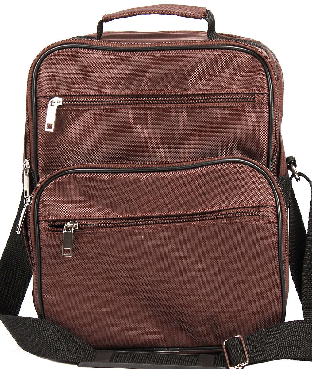 Сумка мужская Медведково, цвет: коричневый. 16с3708-к1416с3708-к14Мужская сумка от Медведково выполнена из текстиля с покрытием из ПВХ. Модель с двумя отделениями, закрывается на застежку-молнию. Внутри у изделия имеются карманы. На лицевой стороне расположен один объемный карман на молнии и два прорезных кармана на молнии. Сумка оснащена удобной ручкой.