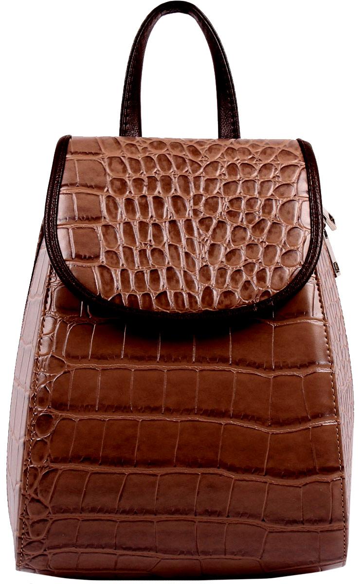 Рюкзак женский Медведково, цвет: темно-бежевый, коричневый. 16с3643-к1416с3643-к14Рюкзак с одним отделением на молнии, внутри карман на молнии. Два заплечных ремня, регулируемые по длине.